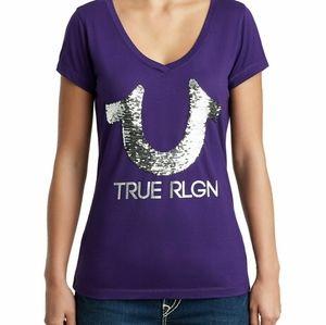 True Religion silver sequin logo purple tee shirt